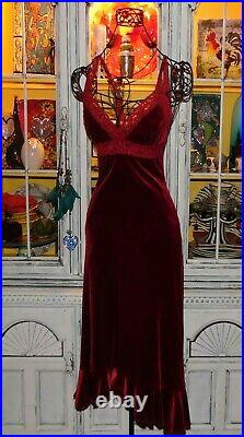 VTG 90s Betsey Johnson Dress VELVET Red Lace Midi Slip Evening Party S 2 4 6