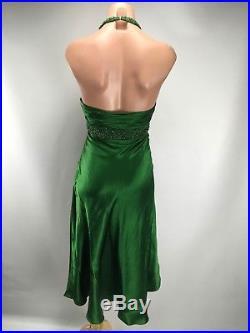 VTG 90s CACHE Sexy 100% Silk Green Halter Slinky Slip Sexy Gown Dress USA 4