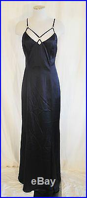 VTG 90s Shiny Blue Cut Out Neck Rhinestone Evening Gown Slip Dress 12