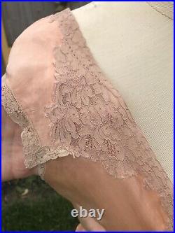 VTG Antique Silk Dress Nightie Long Slip 32x32x36 USA Gatsby Peach Lace 1920s