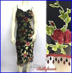 VTG BETSEY JOHNSON 90s Rayon Silk VELVET ROSES PinUp Slip Dress BEADED Hem S 4 6