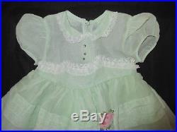 VTG Baby Dress Mint Green Lace Sheer Rhinestone Tulle Net Slip 12 18 M Frilly