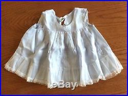 VTG Baby Girl Toddler Dress Sheer Blue Nylon Ruffles & Lace, Slip & Diaper Cover
