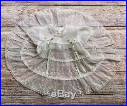 VTG Baby Girl Toddler Sheer White Organza Eyelet Lace Dress & Mint Green Slip