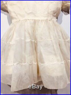VTG Baby Girls Sheer Nylon Party Dress Dots Peter Pan Sash Slip Circle Old Ivory