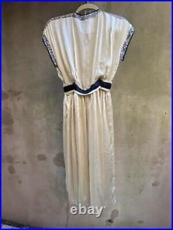 VTG Balenciaga Layered Silk Empire Plunging Dress Gown Champagne Slip Dress S