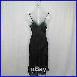 VTG Barbizon SILK Black Lacey Nightgown XS SMALL 12 Slip Dress Sexy MINT Pleated