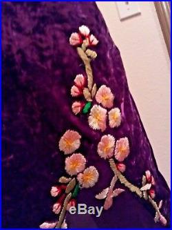 VTG Betsey Johnson Purple Crushed Velvet Embroidered Floral Grunge Slip Dress 2