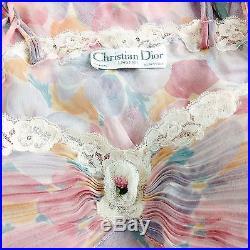 VTG Christian Dior SHEER PANSY Long Slip XS S Floral Lace Trim DRESS Pink Pastel