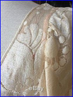VTG Cream Ivory 1970's Long sleeve Silk Lace 2nd Wedding +Slip Dress 2-piece Med