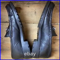 VTG Gucci Mens Black Leather Loafers Horsebit Lug Sole Slip On Size 10