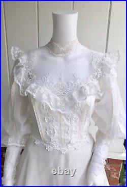 VTG Gunne Style White Victorian Illusion Neckline Wedding Dress with Train, Slip S