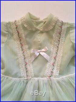 VTG Honeysuckle Girls Embroidered Mint Green Sheer Dress And Slip 3/4T 22 Sth