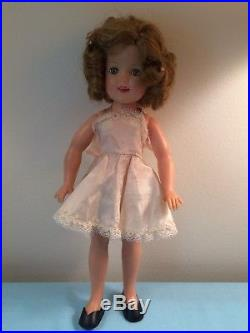 VTG Ideal Plastic Shirley Temple Doll 12 withslip-panties-shoes-Heidi dress-hat