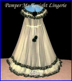 VTG Inspired 2PC YLW BLK Chiffon Lace Slip Lingerie Dress Gown Nightgown 2X 3X
