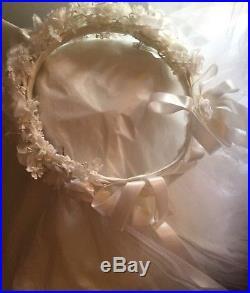VTG LAURA ASHLEY GB 80s 100% COTTON CREAM BRIDAL/GOWNRARE-ENSEMBLE SLIP VEILi