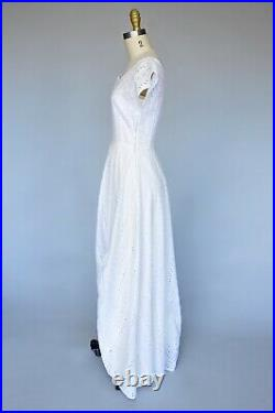 VTG Late 30s Early 40s White Eyelet Dress Matching Satin Slip Ruffle Detail XS