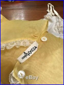 VTG ORIGINAL ALYSSA FULL Nylon Toddler Girls Dress YELLOW Ruffles Lace withSlip
