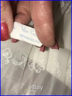 VTG RARE VAN RAALTE 36 38 40 OPAQUELON White SLIP Nightie FANCY LACE Chiffon HEM