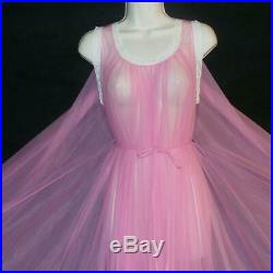 VTG SHEER Chiffon Full Sweep Lingerie LACE Slip Dress Negligee Nightgown Gown OS