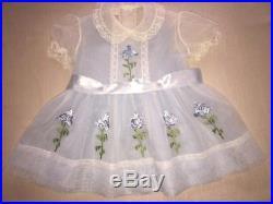 VTG SHEER LITTLE GIRLS DRESS with BLUE FLOWER APPLIQUES & BLUE SHEER SLIP SIZE 3