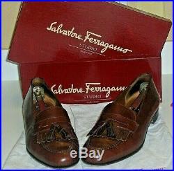 VTG Salvatore Ferragamo Studio Mens Leather Tassel Loafer Slip On Shoes, Size 10
