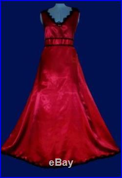 VTG Style Sexy Red BLK Satin Lace Slip Dress Gown Nightgown & Sassy Bow Train 2X