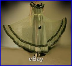 VTG Style Sheer Chiffon Full Sweep Lingerie Lace Slip Dress Gown Nightgown 2X-4X