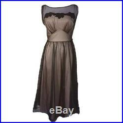 VTG VANITY FAIR Nude Sheer Lined Slip Dress, Size 34 Black Embroidered Trim