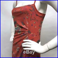 VTG VIVIENNE TAM 90s Nylon STRETCH Mesh FLORAL Red Mini Sheath DRESS & SLIP 1 S