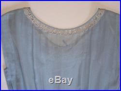 VTG WWII 1940's R & K Originals Blue Cotton Pleated Dress withSlip Sheer Summer