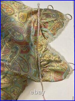 VTG dina bar-el sz P small silk handkerchief dress pastel paisley Slip dress