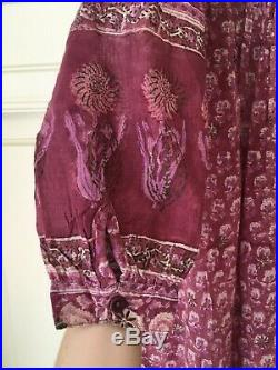 VTG70s BlockPrint Hippie Boho Floral Festival Kaftan Slip-on Dress PHOOL NoTags