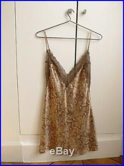 Valentino vintage lace silk python snake print brown cream black mini slip dress