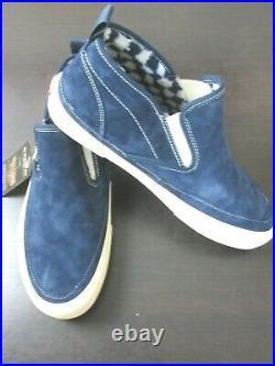 Vans Mens Mid Slip Sf Suede Mte boots Dress Blues Antique White Size 8.5 NWT