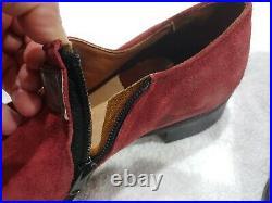Velvet Eez Suede Maroon Side Zipper Slip On VTG Pimp Disco Shoes 9.5 D 533146