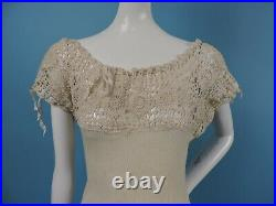 Victorian 19th C Unusually Long Jersey Slip W Lace Top Great As A Dress