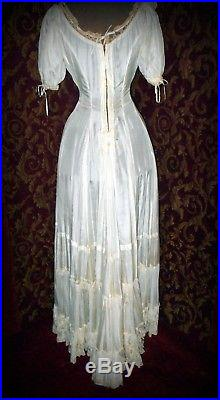 Victorian Edwardian Extremely Rare S-Bend Princess Slip Trousseau Gown Dress