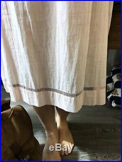 Victorian Slip Dress Edwardian Silk Cotton Lace Antique Slip Dress