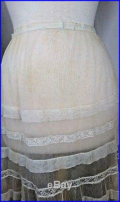 Victorian Women's Vintage Lace Slip Tulle Raised Embroidered Cream Small