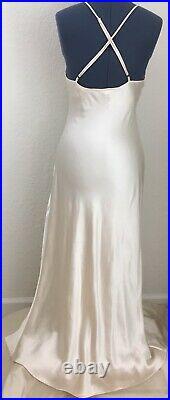 Victorias Secret, VS, Vintage VTG 100% Silk Cream, Ivory, Off-white, Slip Dress
