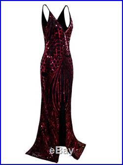 Vijiv Vintage 1920s Slip Prom Dresses Deep V Neck Sequin Long Great Gatsby Dress