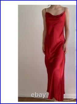 Vintage 100% SILK Red Slip Dress Large Crepe Cowl