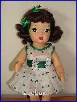 Vintage 16 Terri Lee Doll In Tagged Organdy Green Coin-dot Dress & Slip