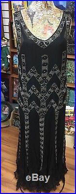 Vintage 1920 Flapper Dress Black Silk Chiffon Beaded Sequin Fringe Slip Art Deco