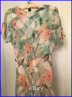 Vintage 1920's 1930s floral chiffon dress, attached slip B33