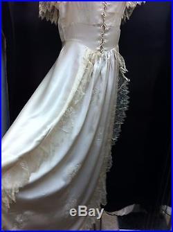 Vintage 1920's Antique White Silk & Lace Bridal-Evening Dress & Slip Size Medium