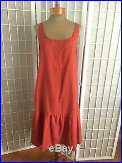 Vintage 1920's Beaded Orange Silk Chiffon Flapper Dress With Matching Slip