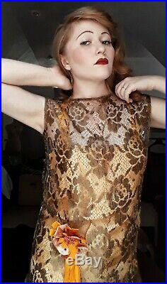 Vintage 1920's Bronze Lace Cocktail Dress With Peach Slip And Velvet Corsage