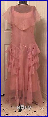 Vintage 1920's dress, pink, bias cut, sheer, matching slip